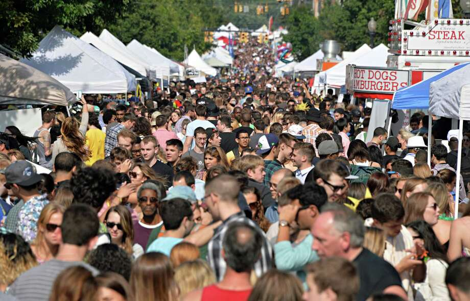 Crowds fill Lark Street at this year's LarkFest Saturday Sept. 20, 2014, in Albany, NY.  (John Carl D'Annibale / Times Union) Photo: John Carl D'Annibale / 00028421A