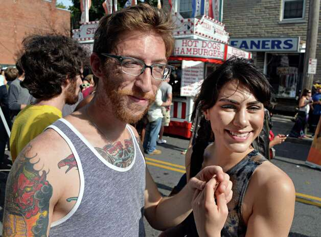 Justin Hunt, left, and Leah Mazzilli.both of Albany, at this year's LarkFest street festival Saturday Sept. 20, 2014, in Albany, NY.  (John Carl D'Annibale / Times Union) Photo: John Carl D'Annibale / 00028421A