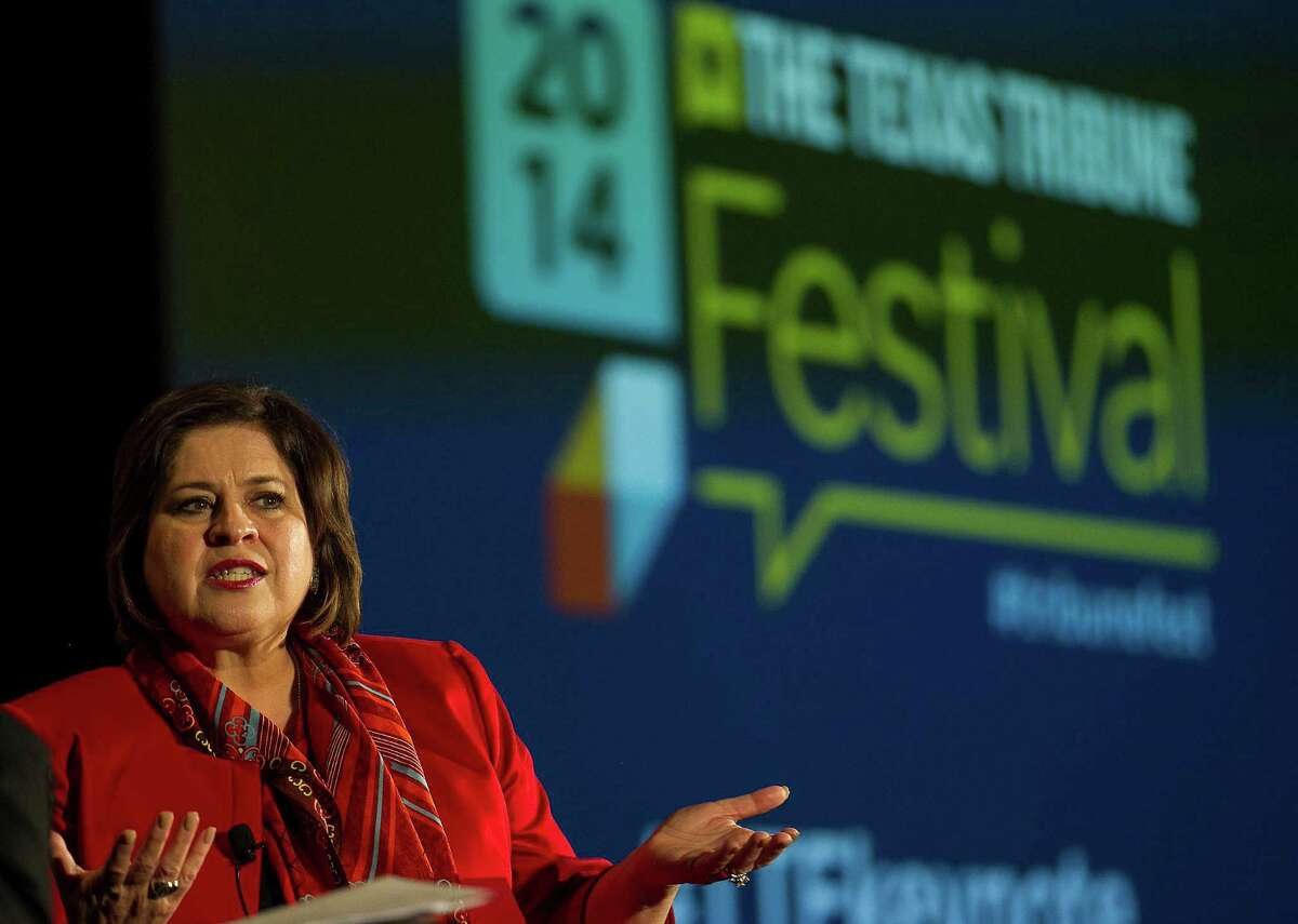 Leticia Van de Putte, the Democratic candidate for lieutenant governor, speaks at the fourth annual Texas Tribune Festival at the University of Texas Saturday, Sept. 20 2014, in Austin, Texas. (AP Photo/Austin American-Statesman, Rodolfo Gonzalez) AUSTIN CHRONICLE OUT, COMMUNITY IMPACT OUT, INTERNET AND TV MUST CREDIT PHOTOGRAPHER AND STATESMAN.COM, MAGS OUT