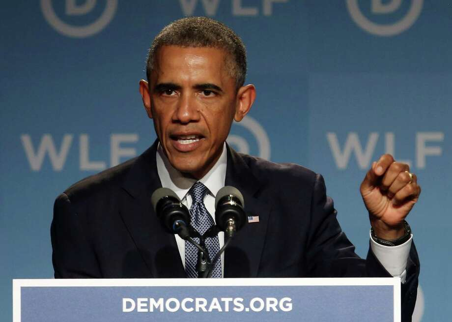 WASHINGTON, DC - SEPTEMBER 19:  US President Barack Obama speaks during the Democratic National Committee's Women's Leadership Forum, September 19, 2014 in Washington, DC. The Womens Leadership Forum is holding their 21st annual National Issues Conference a the Marriot Marquis Hotel.  (Photo by Mark Wilson/Getty Images) *** BESTPIX *** Photo: Mark Wilson, Staff / 2014 Getty Images