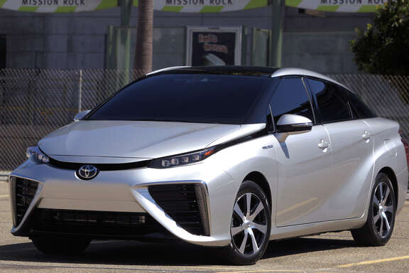 The Mirai runs on runs on hydrogen. It will be available at eight dealerships in California but must be ordered online.