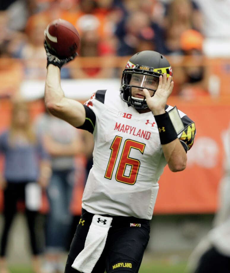 Maryland's C.J. Brown passes in the third quarter of the NCAA college football game against Syracuse at the Carrier Dome in Syracuse, N.Y., Saturday, Sept. 20, 2014. Maryland won 34-20. (AP Photo/Nick Lisi) ORG XMIT: NYNL106 Photo: Nick Lisi / FR171024 AP