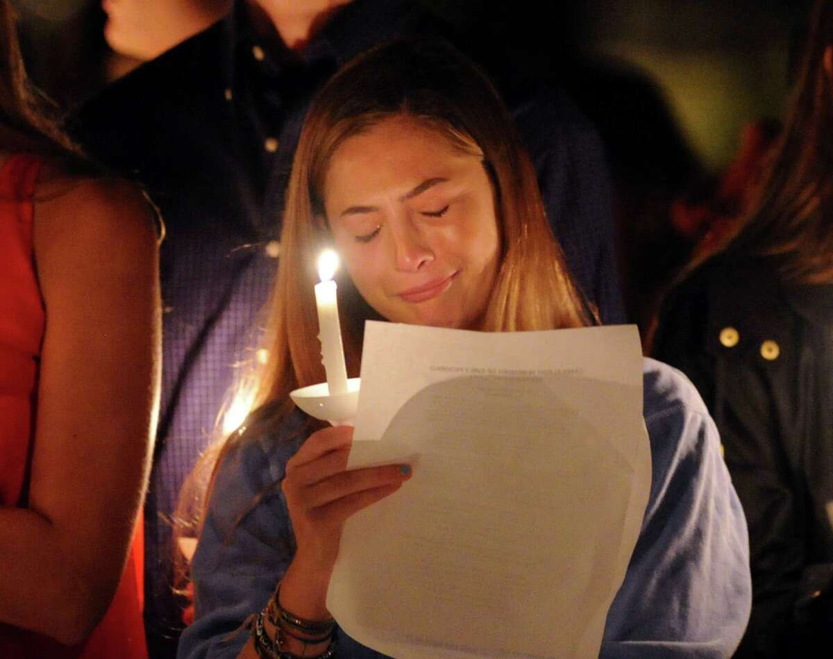 Candlelight vigil in memory of Emily Fedorko near the Arch Street Teen Center in Greenwich, Conn., Saturday night, Sept. 20, 2014. Fedorko, a Greenwich teenager, who was going to start her junior year at Greenwich High School, lost her life in a boating accident in the water off Greenwich Point on August 6.