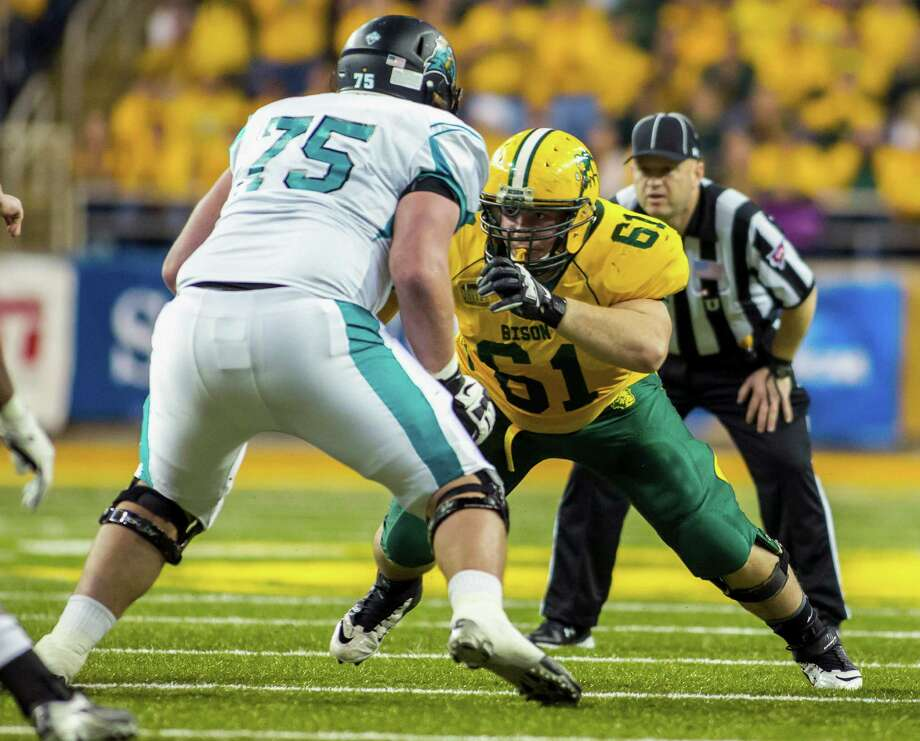 Nose guard Brian Schaetz (61) is the type of unher-alded player North Dakota State has developed into a contributor on its FCS powerhouse teams. Photo: Tyler Ingham, HOPD / North Dakota State Athletics Dep