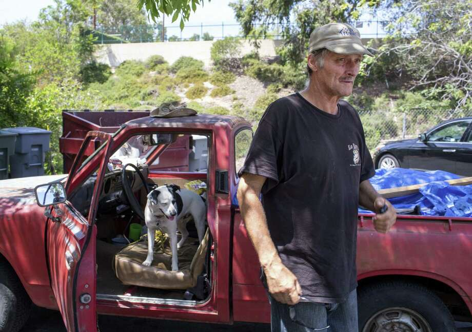 Vietnam veteran Paul Wilson lives in a truck with his dog in Los Angeles. Ex-VA secretary Eric Shinseki led an initiative to end veteran homelessness. Photo: Monica Almeida / New York Times / NYTNS