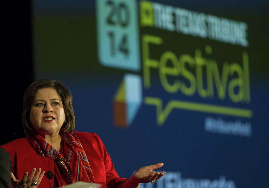 """Democratic candidate Leticia Van de Putte of San Antonio mostly avoided attacking Patrick at the event, though she said Republicans are using immigration """"politics of fear."""" Photo: Photos By Rodolfo Gonzalez / Austin American-Statesman / Austin American-Statesman"""