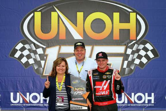 It's not often a NASCAR driver gets to pose in Victory Lane with his parents, but 16-year-old Cole Custer, right, got to do it after winning the Camping World Truck race at Loudon, N.H., and becoming the youngest winner in a NASCAR national series race.