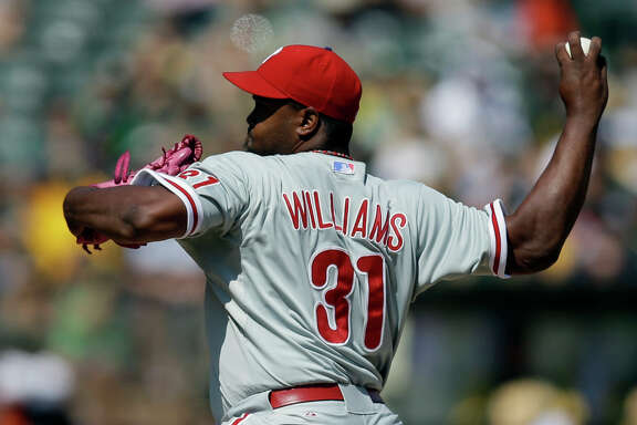 The Phillies' Jerome Williams held the Athletics scoreless over seven innings to earn a win over Oakland with his third team this season. He also defeated the A's with the Astros and Rangers.