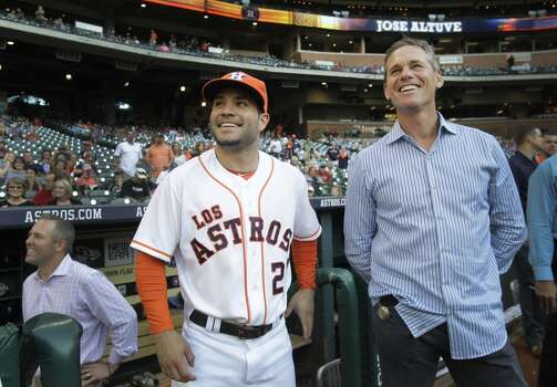 September 20: Astros 10, Mariners 1  Jose Altuve, left, was honored for his historic season with Craig Biggio on hand, and the Astros used the long ball early and often to knock off Seattle in the second-to-last home game of the season.  Record: 68-87. Photo: Melissa Phillip, Houston Chronicle