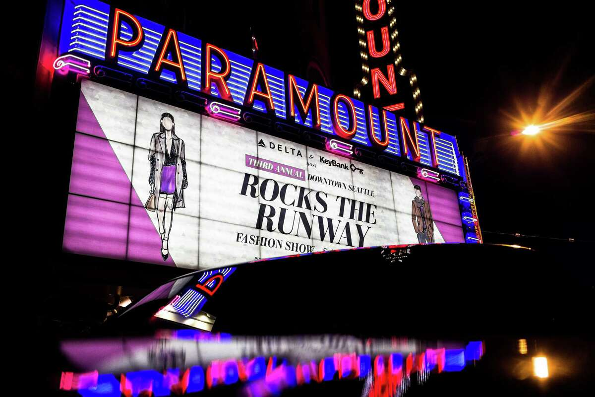 Bright lights of the marquee announce the night's event for the third annual Downtown Seattle Rocks the Runway fashion show Saturday, September 20, 2014, at The Paramount Theatre in Seattle, Washington. Delta Air Lines and KeyBank presented the red carpet affair.