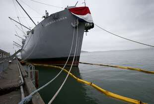 The liberty ship Jeremiah O'Brien is suspected in the fuel spill Sunday September 21, 2014. A fuel spill near Pier 45 in San Francisco, Calif. brought out the Coast Guard and water booms around the Hyde Street pier, Pier 45 and the Jeremiah O'Brien liberty ship.