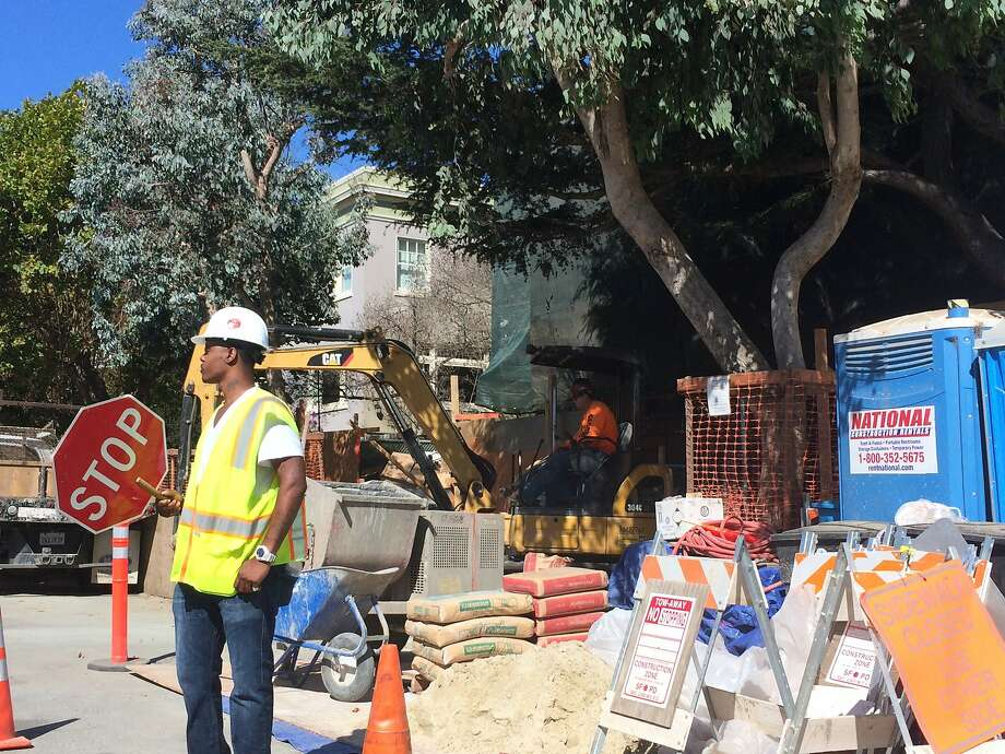 The construction zone outside the Dolores Heights home of Facebook founder Mark Zuckerberg is seen in September of 2014. Photo: Andrew Ross, The Chronicle