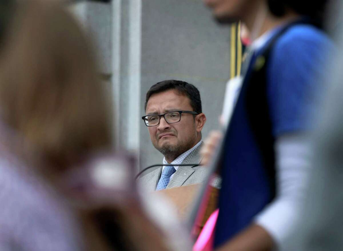 Supervisor David Campos attends a San Francisco City Hall rally on Sept. 18, 2014.