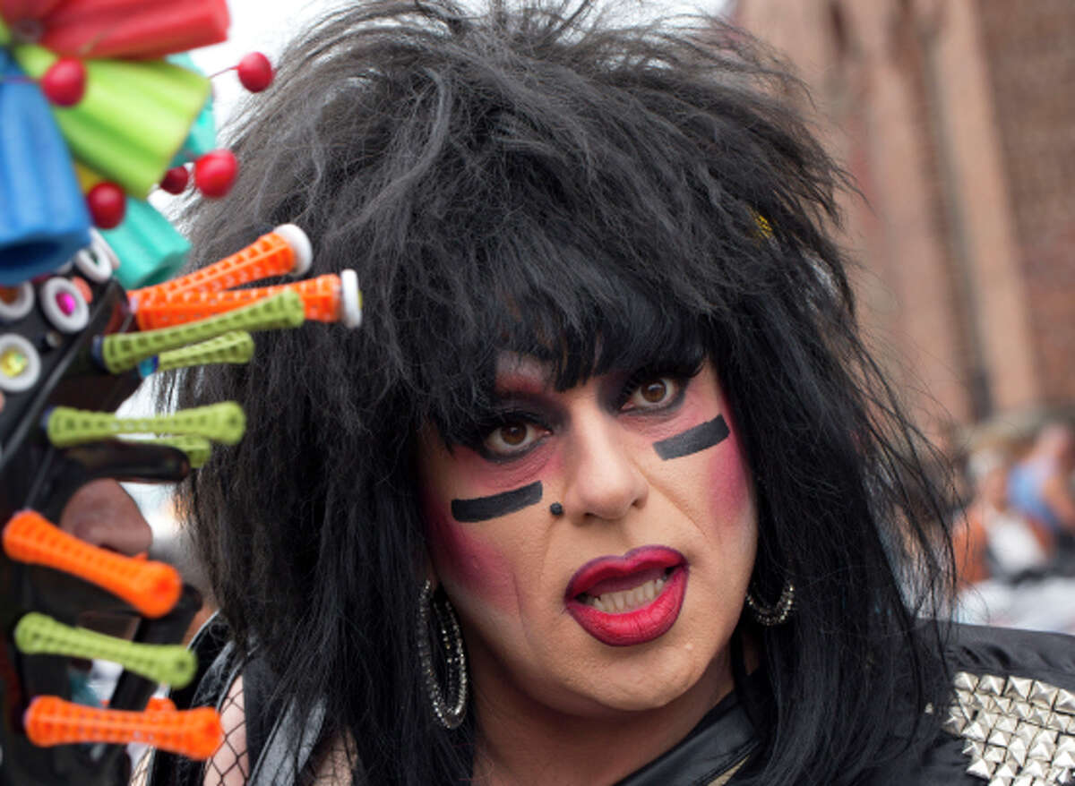 Heklina chats with friends during the Folsom Street Fair in San Francisco.
