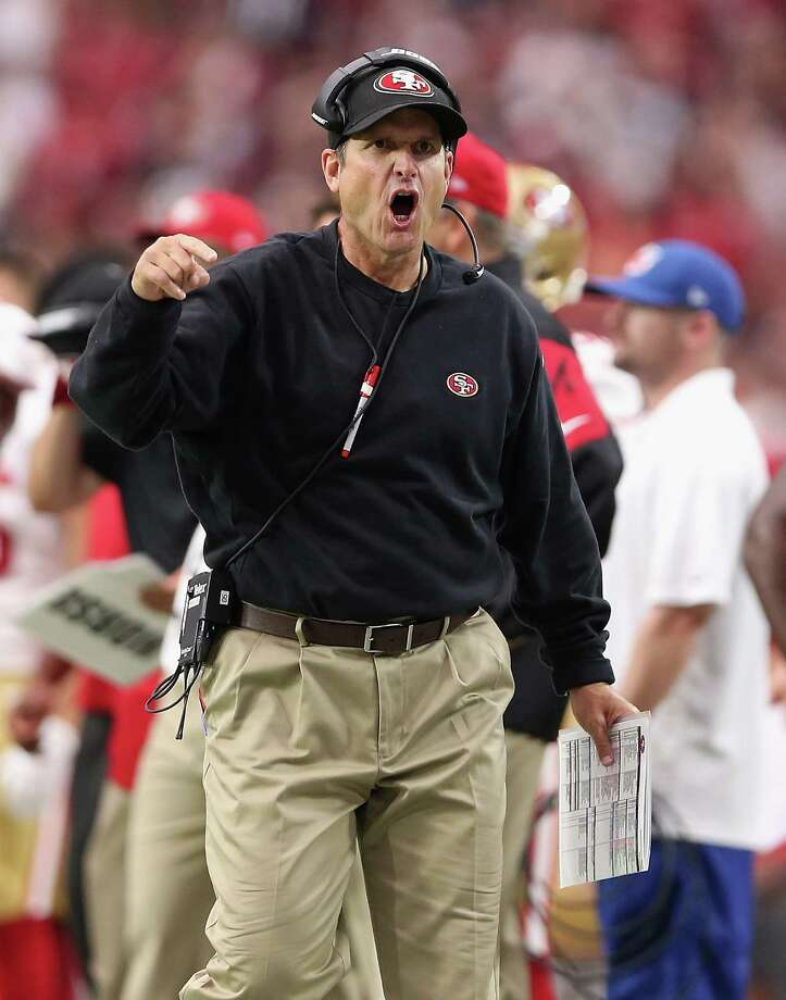 GLENDALE, AZ - SEPTEMBER 21: Head coach Jim Harbaugh of the San Francisco 49ers yells at an official during the third quarter of the NFL game against the Arizona Cardinals at the University of Phoenix Stadium on September 21, 2014 in Glendale, Arizona.  (Photo by Christian Petersen/Getty Images) Photo: Christian Petersen, Staff / Getty Images / 2014 Getty Images