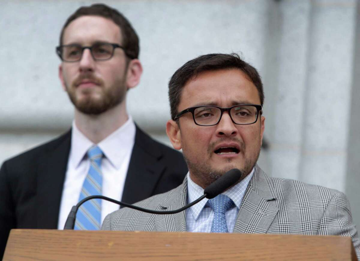 S.F. Supervisors Scott Wiener (left) and David Campos appear at a City Hall rally to support citywide distribution of PrEP HIV prevention drugs.