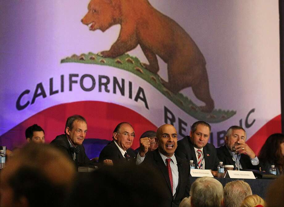 Republican gubernatorial candidate Neel Kashkari speaks to delegates at the California Republican Convention at the LAX Marriott on Sunday, Sept. 21, 2014. Photo: Luis Sinco, McClatchy-Tribune News Service