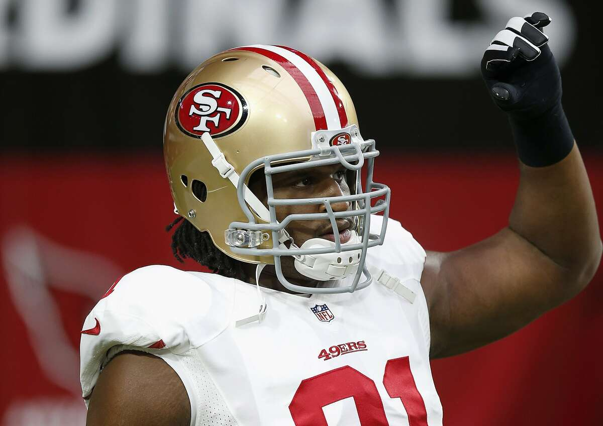 San Francisco 49ers' Ray McDonald warms up prior to an NFL football game against the Arizona Cardinals Sunday, Sept. 21, 2014, in Glendale, Ariz. (AP Photo/Ross D. Franklin)