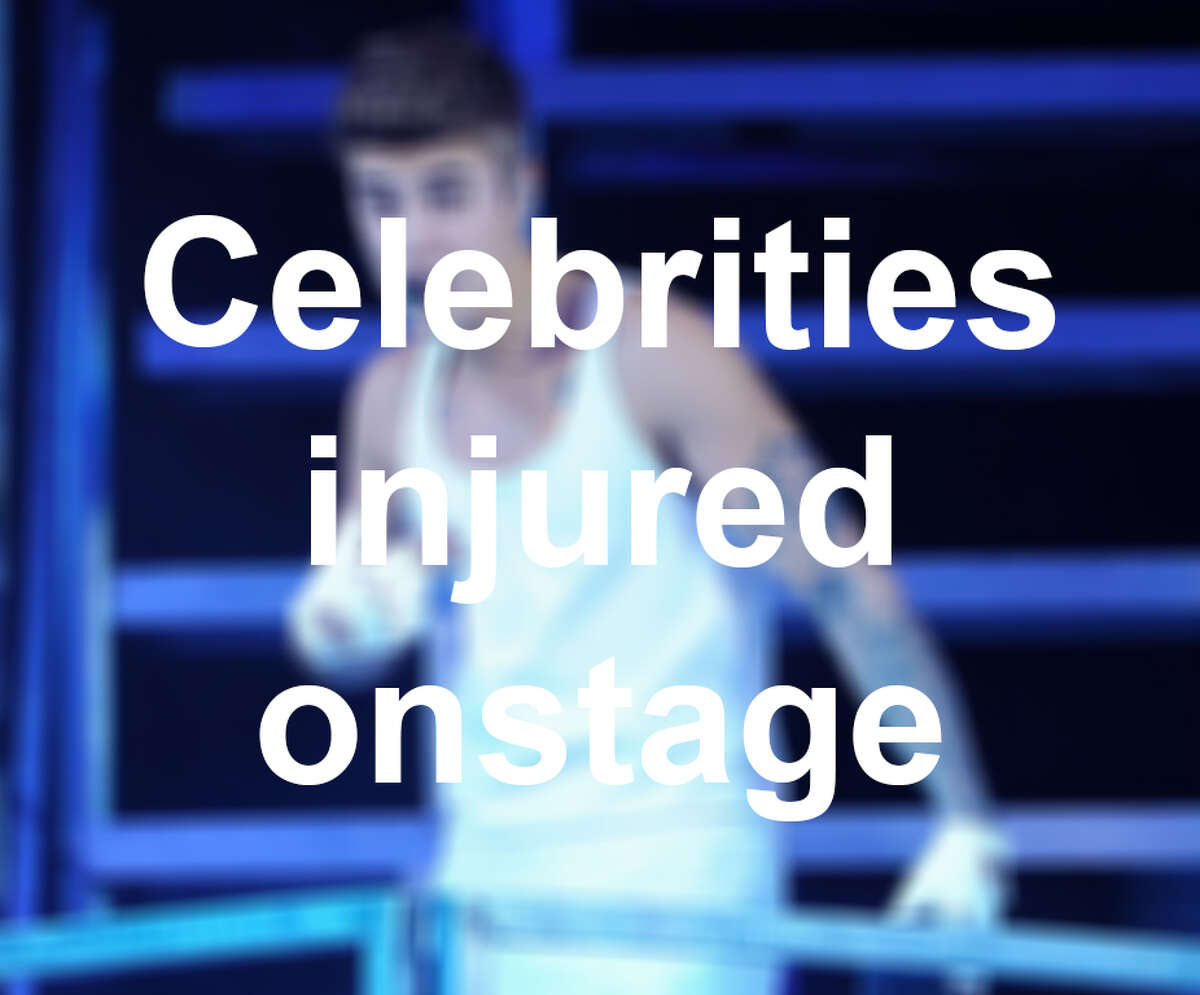 From hair fires to buttocks bites, here are 12 performers who have suffered onstage injuries.