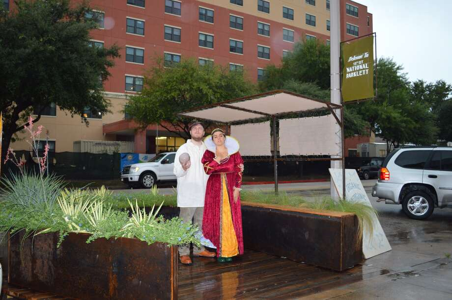 """Shakespeare in the parking: Selections from """"Romeo & Juliet,"""" """"Taming of the Shrew"""" and """"Hamlet"""" were performed Friday in Houston's first permanent parklet. Photo: New Living / ONLINE_YES"""