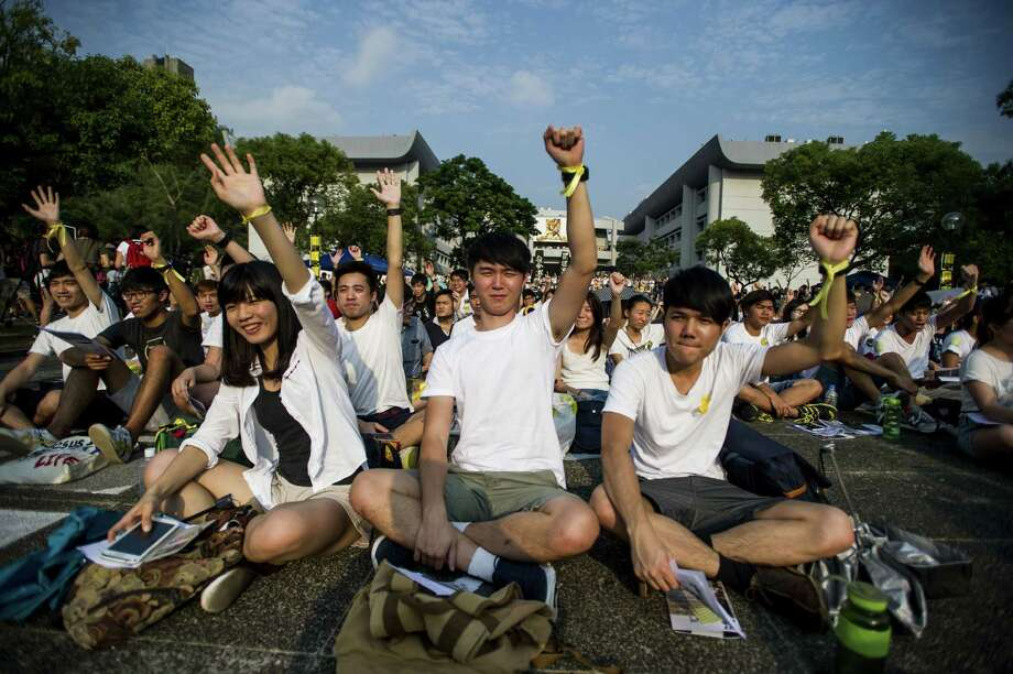 Thousands of students strike at the Chinese University of Hong Kong, beginning a weeklong boycott of classes to protest China's proposal to limit voting rights. Photo: XAUME OLLEROS, Stringer / AFP/Getty Images / AFP