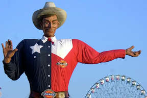 Big Tex welcomes visitors to the Texas State Fair in Dallas, Friday, Sept. 27, 2002. The fair opens Friday and runs for three weeks.