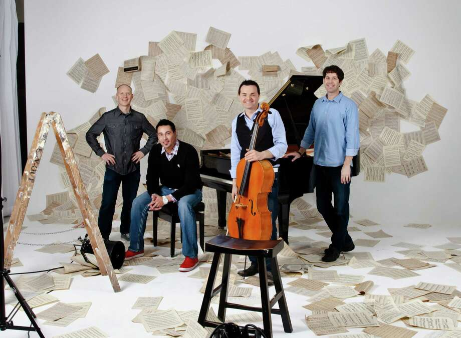The Piano Guys include Jon Schmidt, from left, Al Van Der Beek, Steven Nelson and Paul Anderson. Photo: Nicolas Hudak, Photographer/director / ONLINE_YES