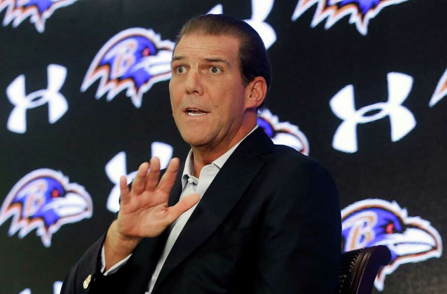 Baltimore Ravens owner Steve Bisciotti addresses the controversy surrounding former running back Ray Rice at an NFL football news conference, Monday, Sept. 22, 2014, in Owings Mills, Md. (AP Photo/Patrick Semansky) Photo: Patrick Semansky, Associated Press / AP