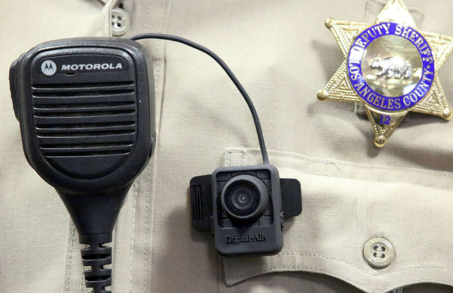 A body camera is displayed at a news conference at the Los Angeles County Sheriff's Department in the Monterey Park section of Los Angeles. The pilot program will last six months. Photo: Nick Ut, STF / Associated Press / AP