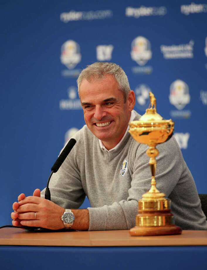 AUCHTERARDER, SCOTLAND - SEPTEMBER 22:  Paul McGinley, Captain of the Europe team laughs during a press conference ahead of the 2014 Ryder Cup on the PGA Centenary course at the Gleneagles Hotel on September 22, 2014 in Auchterarder, Scotland.  (Photo by Mike Ehrmann/Getty Images) ORG XMIT: 514210341 Photo: Mike Ehrmann / 2014 Getty Images