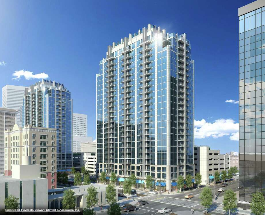 Rendering of SkyHouse Main. Developers submitted plans for the downtown apartment building in September 2014. Photo: SkyHouse Development Team
