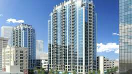 Rendering of SkyHouse Main. Developers submitted plans for the downtown apartment building in September 2014.