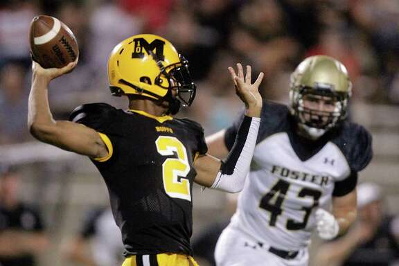 Marshall quarterback Jeremy Smith (2) throws during the first half of a high school football game against Foster at Hall Stadium on Friday, Sept. 19, 2014, in Missouri City. ( J. Patric Schneider / For the Chronicle )
