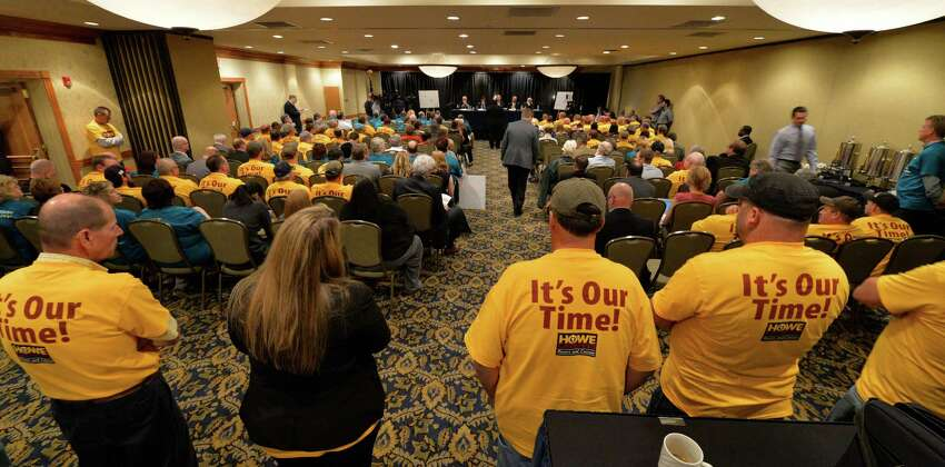 Different groups both for and against casinos put forth their thoughts during a public hearing on the location of casinos in the area Monday morning, Sept. 22, 2014, at the Holiday Inn Turf on Wolf Road in Colonie, N.Y. (Skip Dickstein/Times Union)
