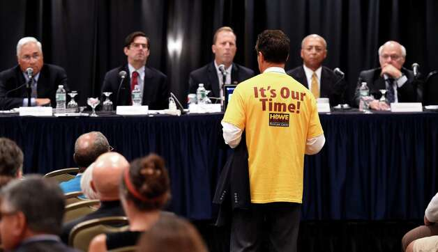 Assemblyman Peter Lopez speaks during a public hearing on the location of casinos Monday morning, Sept. 22, 2014, at the Holiday Inn Turf on Wolf Road in Colonie, N.Y. (Skip Dickstein/Times Union) Photo: SKIP DICKSTEIN / 00028632A