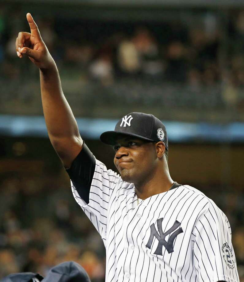 Yankees starting pitcher Michael Pineda gestured toward the stands after New York Yankees manager Joe Girardi took him out in the eighth-inning of a baseball game against the Baltimore Orioles at Yankee Stadium in New York, Monday, Sept. 22, 2014. (AP Photo/Kathy Willens) Photo: Kathy Willens, STF / Associated Press / AP