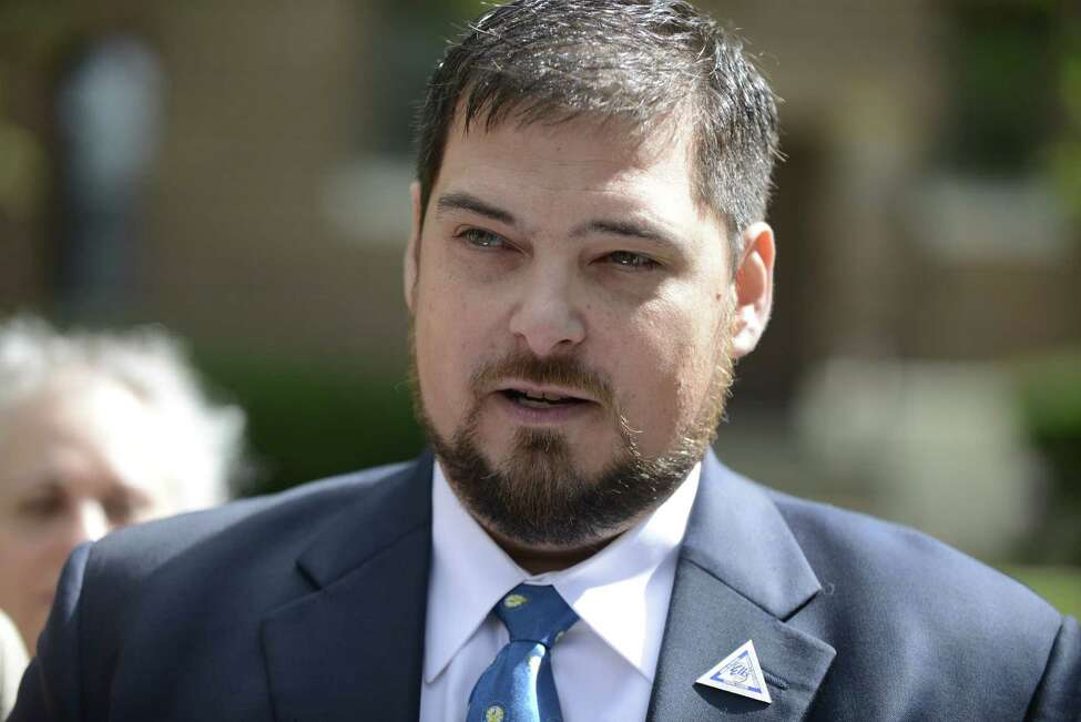 Michael Cioppa, 39 of Latham makes a statement during a press conference where he alleged that he was sexually abused by a Catholic school teacher at La Salle Institute when he was 16 and 17 years-old Monday Sept. 22, 2014, outside the Pastoral Center in Albany, N.Y. (Will Waldron/Times Union)