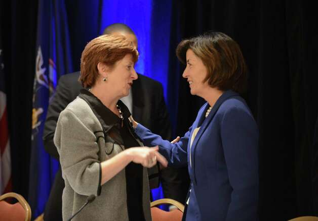 Albany Mayor Kathy Sheehan, left, chats with Kathy Hochul, Gov. Andrew Cuomo's running mate, right, during the state Democratic Committee fall meeting Monday, Sept. 22, 2014, at the Desmond Hotel in Colonie, N.Y. (Will Waldron/Times Union) Photo: WW / 00028714A