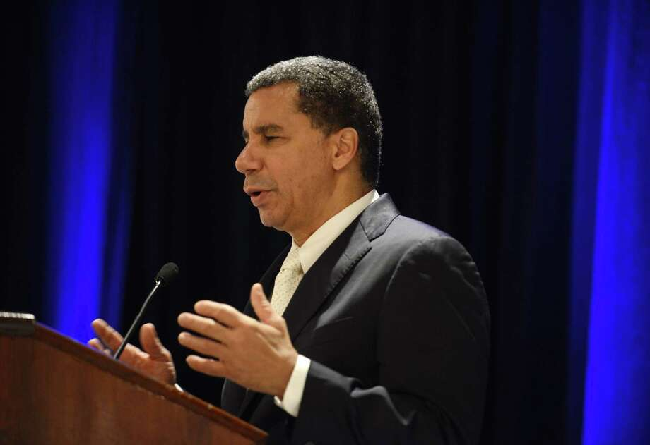 Former governor David Paterson delivers a speech after being named chairman of the New York Democratic Party Monday, Sept. 22, 2014, during a state Democratic Committee fall meeting at the Desmond Hotel in Colonie, N.Y. (Will Waldron/Times Union) Photo: WW / 00028714A