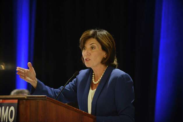 Kathy Hochul, Gov. Cuomo's running mate, speaks to party members during the state Democratic Committee fall meeting Monday, Sept. 22, 2014, at the Desmond Hotel in Colonie, N.Y. (Will Waldron/Times Union) Photo: WW / 00028714A