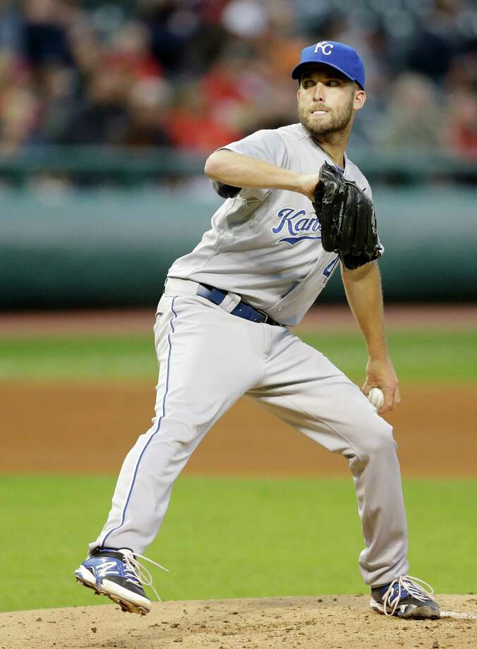 Kansas City Royals starting pitcher Danny Duffy delivers in the first inning in a baseball game against the Cleveland Indians, Monday, Sept. 22, 2014, in Cleveland. Duffy pitched six innings and gave up six hits. The Royals defeated the Indians 2-0. (AP Photo/Tony Dejak) ORG XMIT: OHTD110 Photo: Tony Dejak / AP