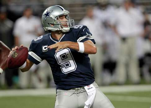 Dallas Cowboys quarterback Tony Romo throws during the fourth quarter of an NFL football game against the St. Louis Rams Sunday, Sept. 21, 2014, in St. Louis. (AP Photo/Tom Gannam) Photo: Tom Gannam, Associated Press / FR45452 AP