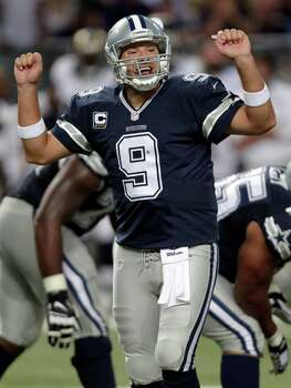 Dallas Cowboys quarterback Tony Romo yells on the line of scrimmage during the fourth quarter of an NFL football game against the St. Louis Rams Sunday, Sept. 21, 2014, in St. Louis. (AP Photo/Tom Gannam) Photo: Tom Gannam, Associated Press / FR45452 AP