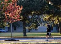 On the first full day of fall, a jogger runs by a brightly colored tree on the University at Albany campus. (Skip Dickstein / Times Union)