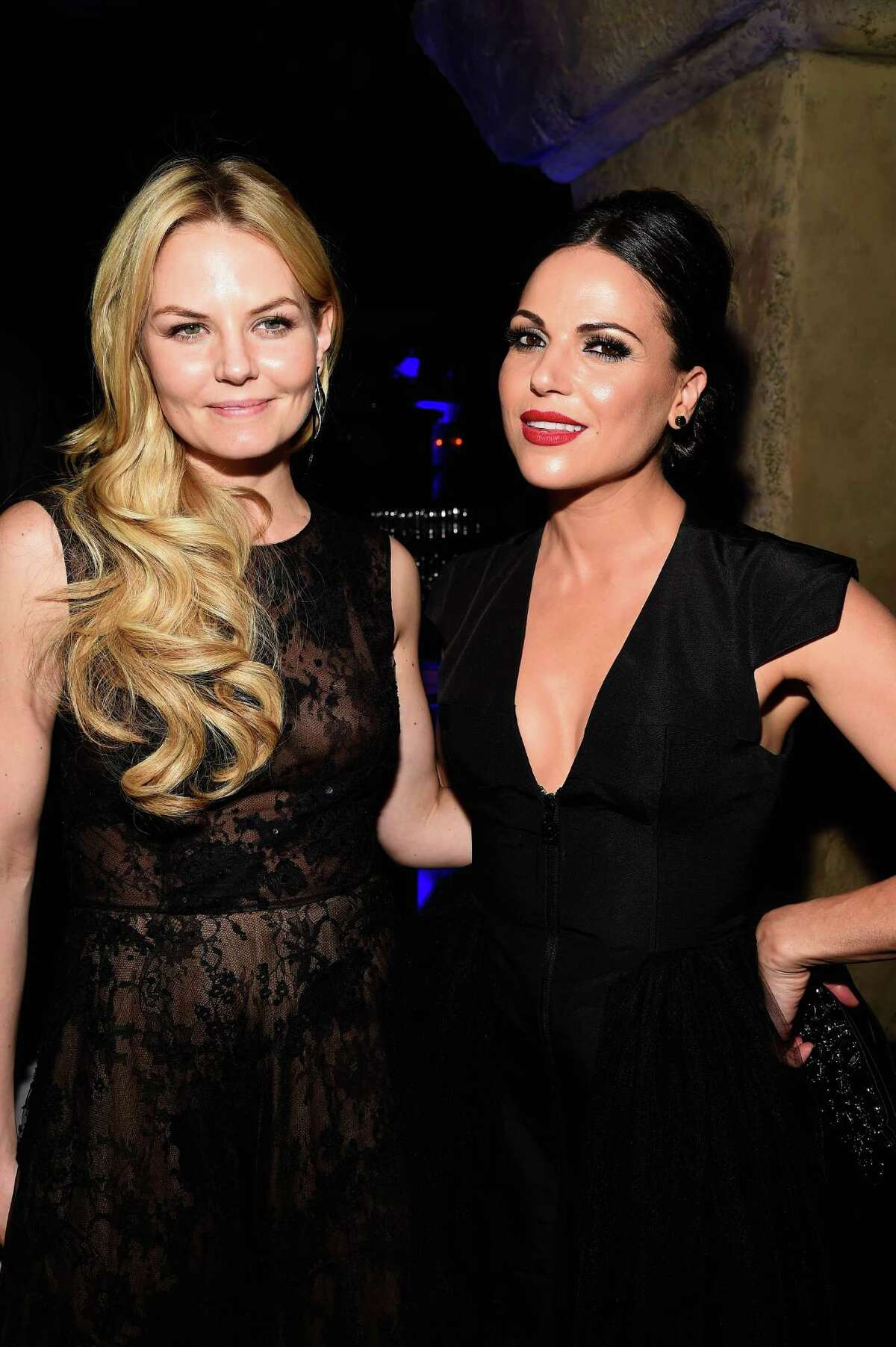 """Actors Jennifer Morrison and Lana Parrilla attend the Screening Of ABC's """"Once Upon A Time"""" Season 4 after Party at the Roosevelt Hotel on September 21, 2014 in Hollywood, California."""