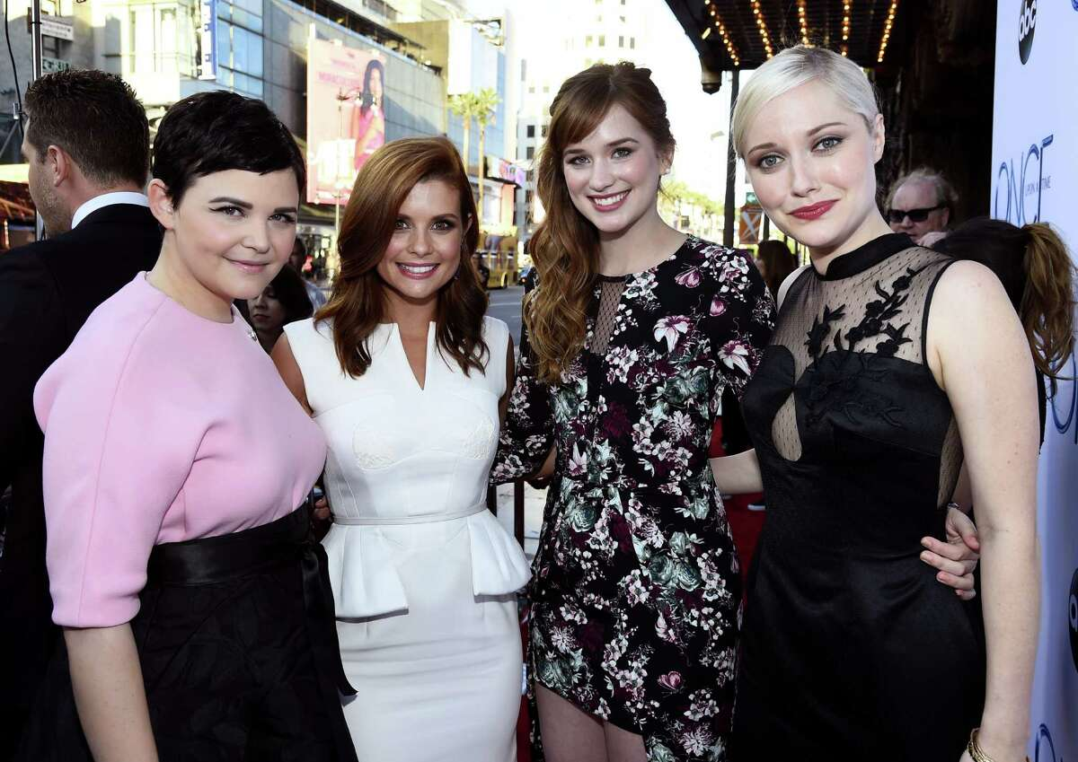"""Actress Ginnifer Goodwin, actress JoAnna Garcia Swisher, actress Elizabeth Lail and actress Georgina Haig attend a screening of ABC's """"Once Upon A Time"""" Season 4 at the El Capitan Theatre on September 21, 2014 in Hollywood, California."""