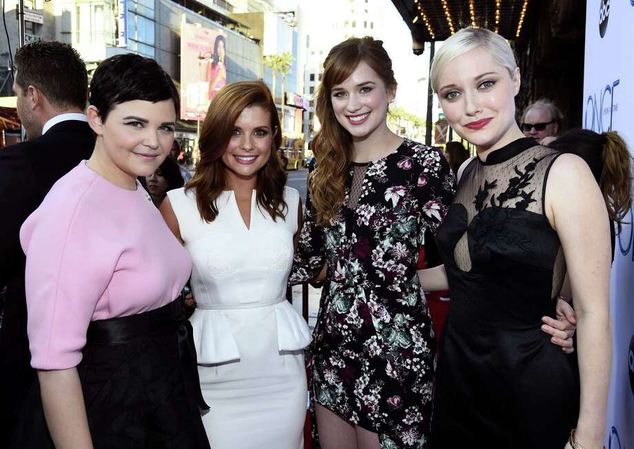 "Actress Ginnifer Goodwin, actress JoAnna Garcia Swisher, actress Elizabeth Lail and actress Georgina Haig attend a screening of  ABC's ""Once Upon A Time"" Season 4 at the El Capitan Theatre on September 21, 2014 in Hollywood, California. Photo: Frazer Harrison, Getty Images / 2014 Getty Images"
