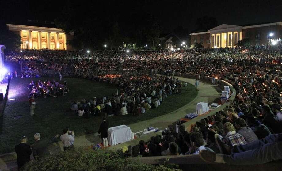 Students attend a vigil for missing UVA student Hannah Elizabeth Graham on Thursday night. Andrew Shurtleff/AP