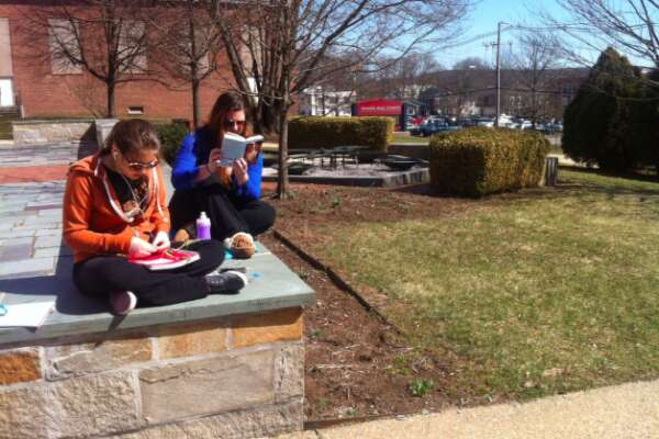 Students study on campus at Eastern Connecticut State University