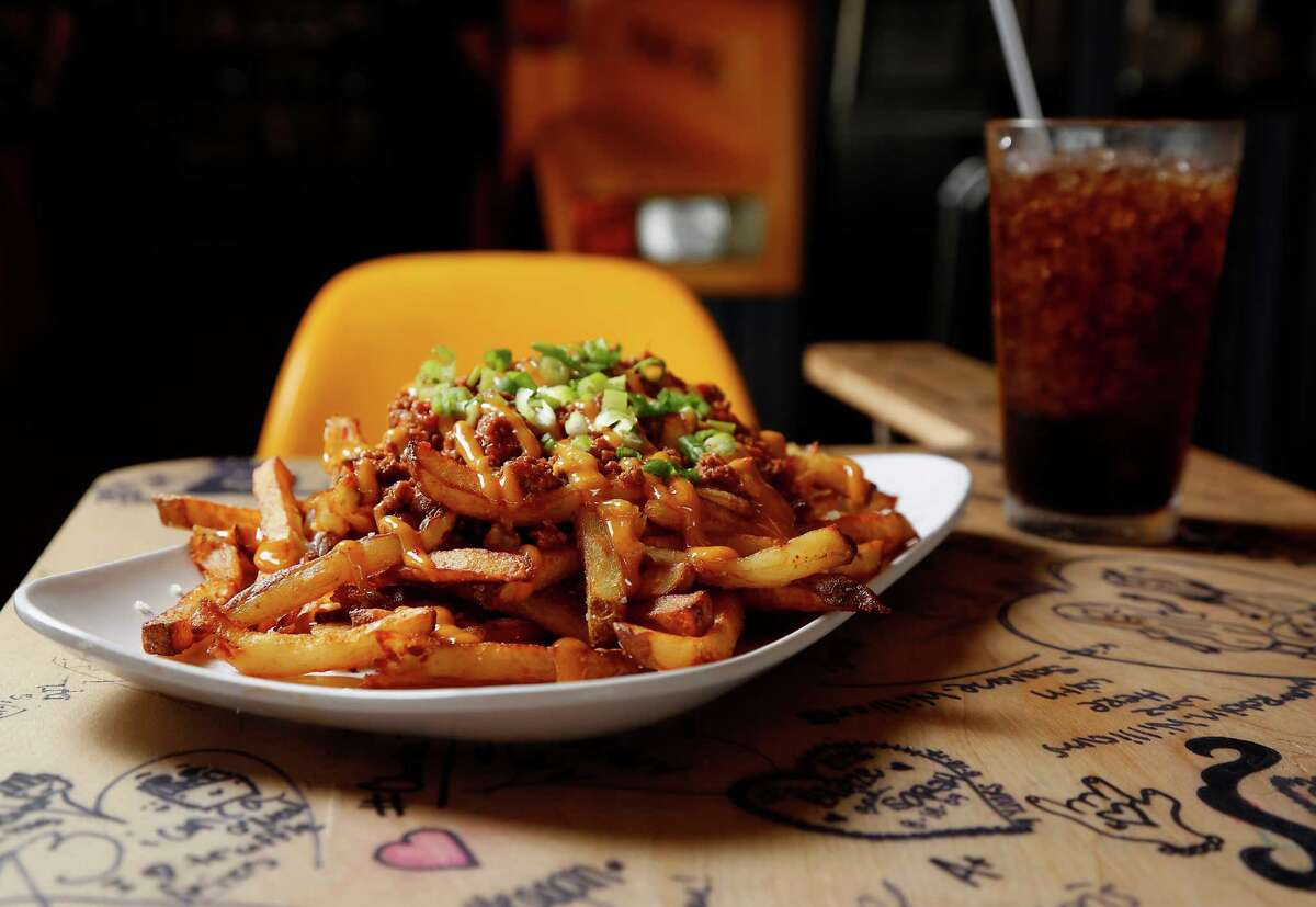 The Chili Cheese Fries at Bernie's Burger Bus consist of homemade chili, cheddar and chipotle aioli.